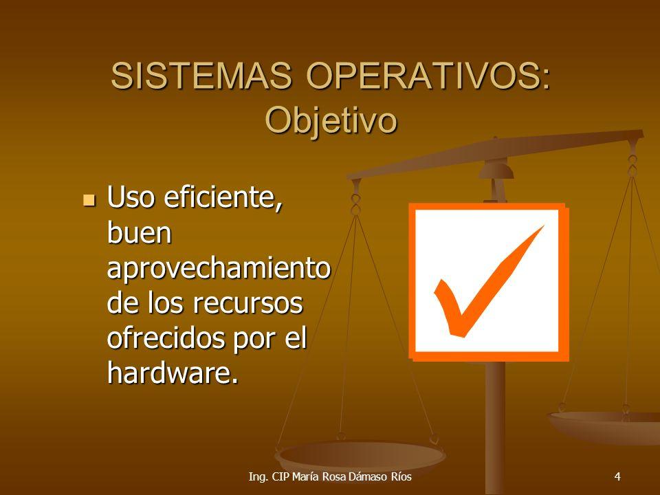 Ing.CIP María Rosa Dámaso Ríos25 TIPOS DE SIST. OPERATIVOS Sistema Operativo de Tiempo Real.