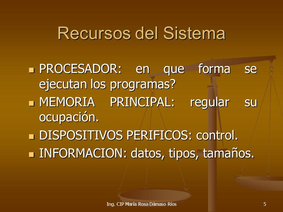 Ing. CIP María Rosa Dámaso Ríos6 SISTEMA OPERATIVO Y LOS RECURSOS E/S S.O Info Procesador Memoria
