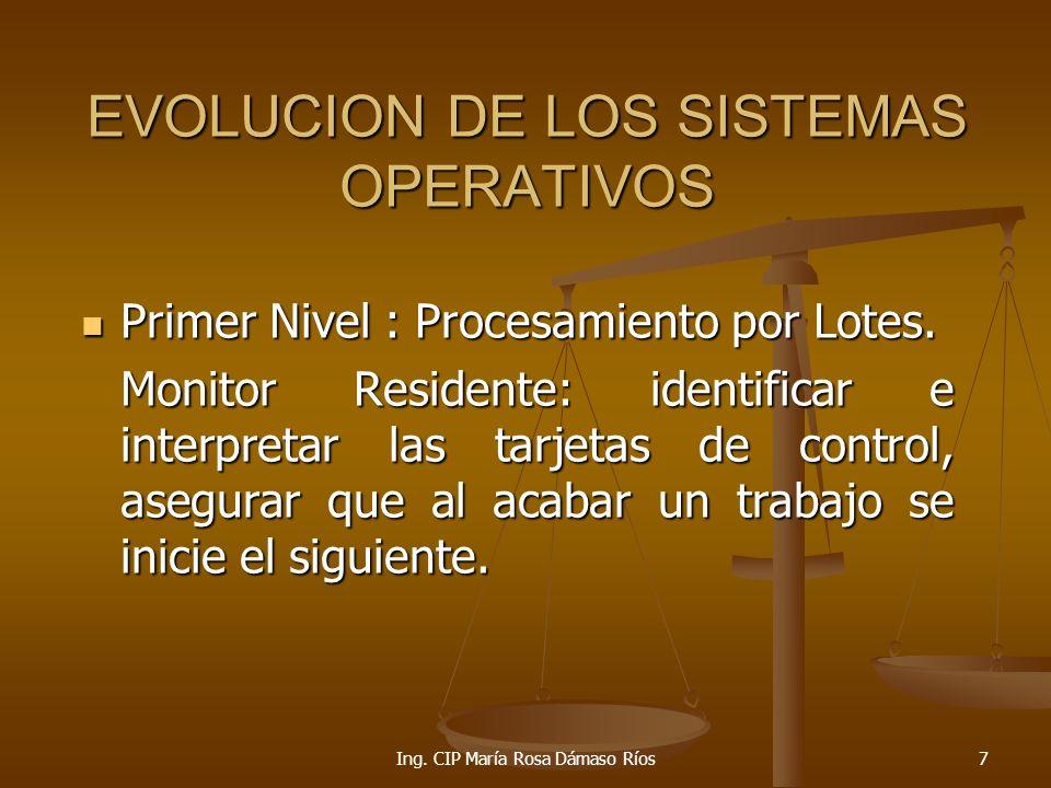 Ing.CIP María Rosa Dámaso Ríos28 SISTEMAS OPERATIVOS: UNIX Multiusuario.
