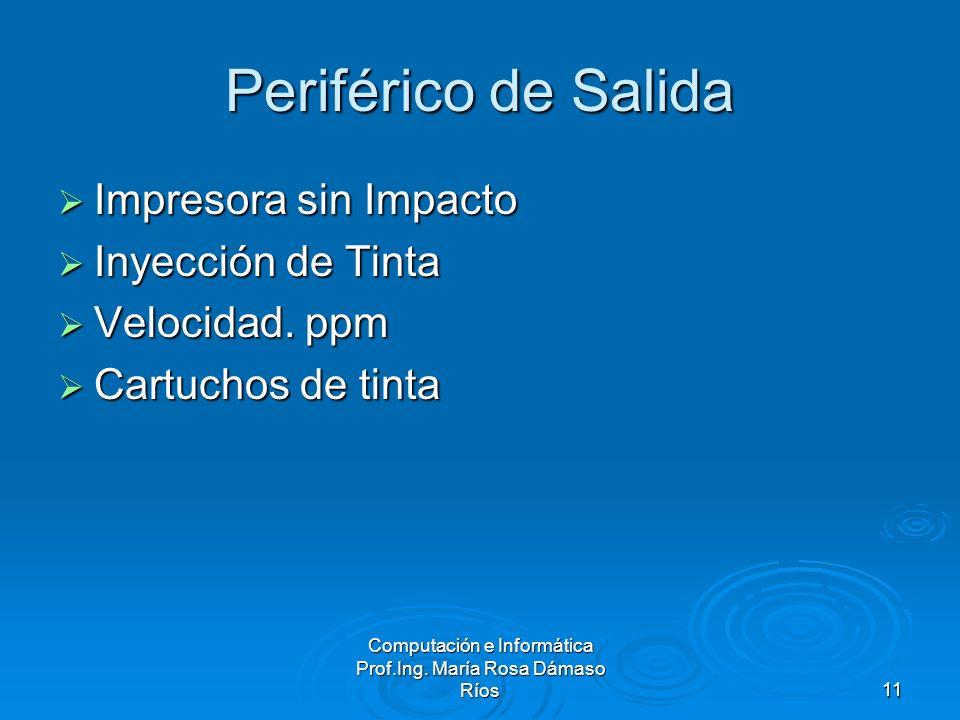Computación e Informática Prof.Ing. María Rosa Dámaso Ríos11 Periférico de Salida Impresora sin Impacto Impresora sin Impacto Inyección de Tinta Inyec