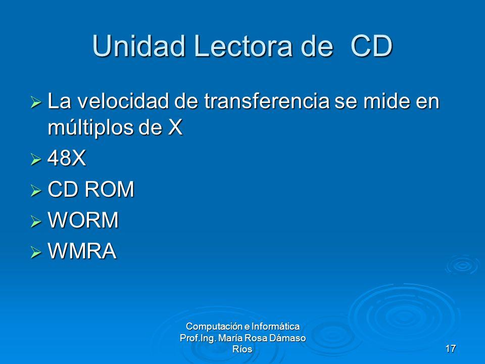 Computación e Informática Prof.Ing. María Rosa Dámaso Ríos17 Unidad Lectora de CD La velocidad de transferencia se mide en múltiplos de X La velocidad