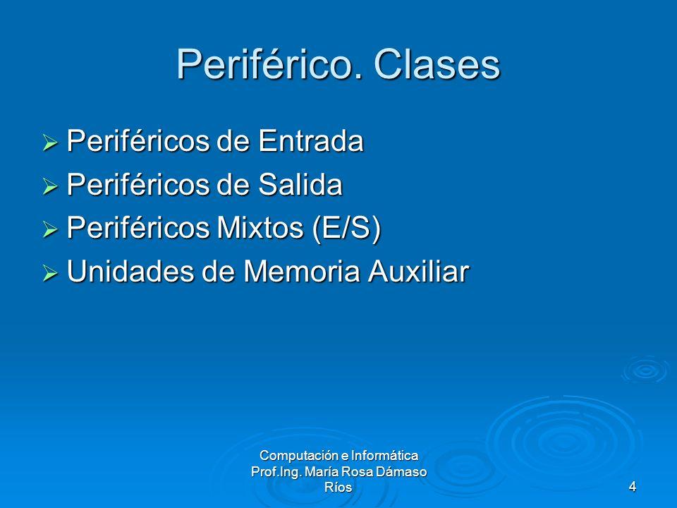 Computación e Informática Prof.Ing. María Rosa Dámaso Ríos4 Periférico. Clases Periféricos de Entrada Periféricos de Entrada Periféricos de Salida Per