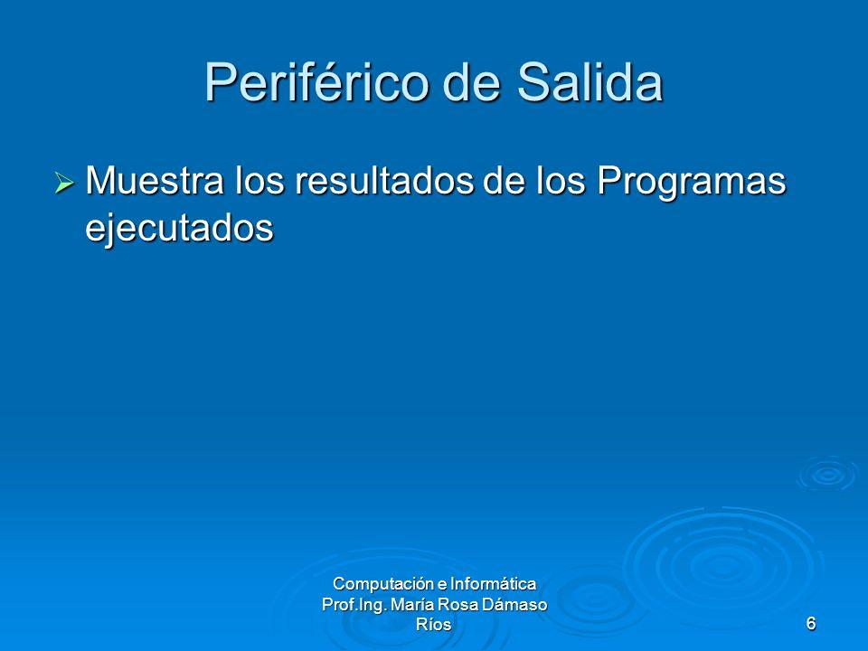 Computación e Informática Prof.Ing. María Rosa Dámaso Ríos6 Periférico de Salida Muestra los resultados de los Programas ejecutados Muestra los result