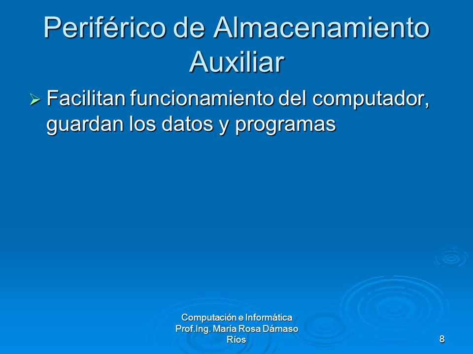 Computación e Informática Prof.Ing. María Rosa Dámaso Ríos8 Periférico de Almacenamiento Auxiliar Facilitan funcionamiento del computador, guardan los