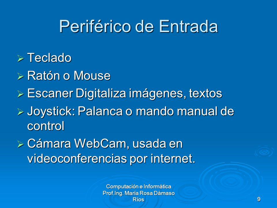 Computación e Informática Prof.Ing. María Rosa Dámaso Ríos9 Periférico de Entrada Teclado Teclado Ratón o Mouse Ratón o Mouse Escaner Digitaliza imáge