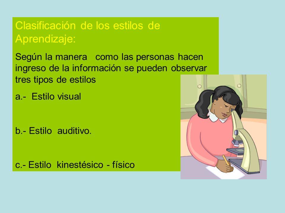 Clasificación de los estilos de Aprendizaje: Según la manera como las personas hacen ingreso de la información se pueden observar tres tipos de estilo