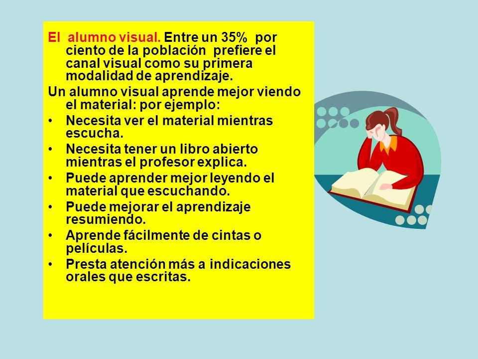 El alumno visual. Entre un 35% por ciento de la población prefiere el canal visual como su primera modalidad de aprendizaje. Un alumno visual aprende