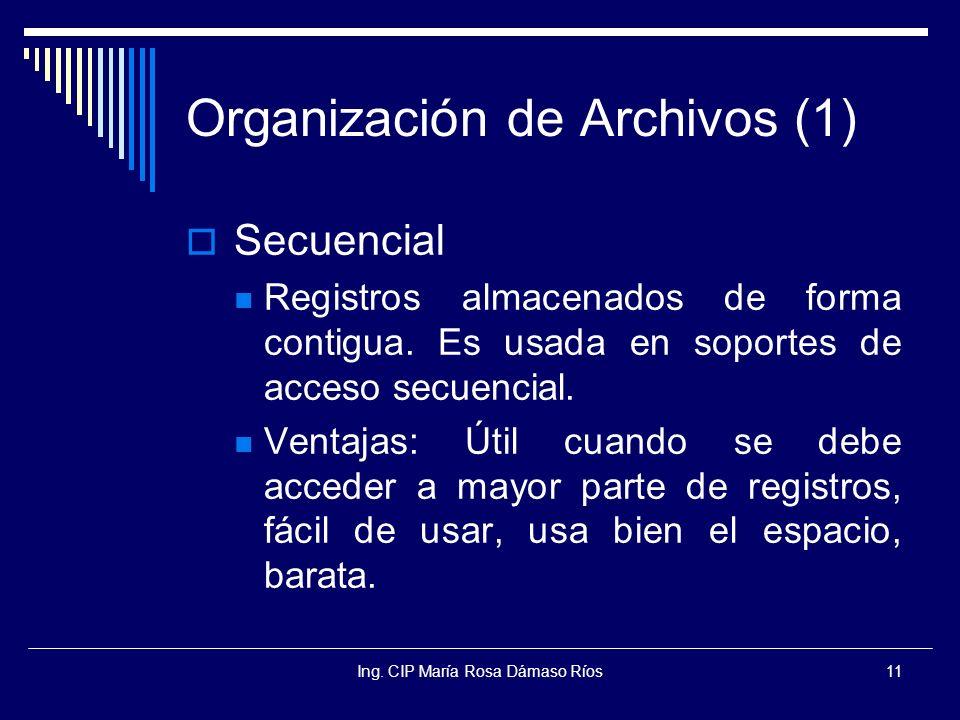 Ing. CIP María Rosa Dámaso Ríos11 Organización de Archivos (1) Secuencial Registros almacenados de forma contigua. Es usada en soportes de acceso secu