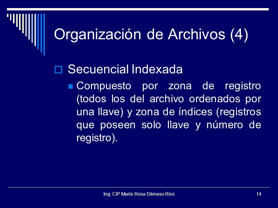 Ing. CIP María Rosa Dámaso Ríos14 Organización de Archivos (4) Secuencial Indexada Compuesto por zona de registro (todos los del archivo ordenados por