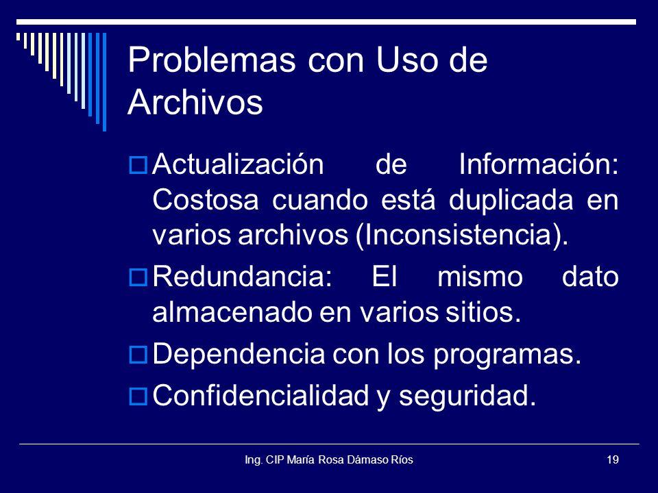 Ing. CIP María Rosa Dámaso Ríos19 Problemas con Uso de Archivos Actualización de Información: Costosa cuando está duplicada en varios archivos (Incons