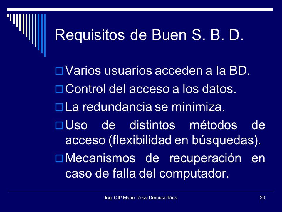 Ing. CIP María Rosa Dámaso Ríos20 Requisitos de Buen S. B. D. Varios usuarios acceden a la BD. Control del acceso a los datos. La redundancia se minim