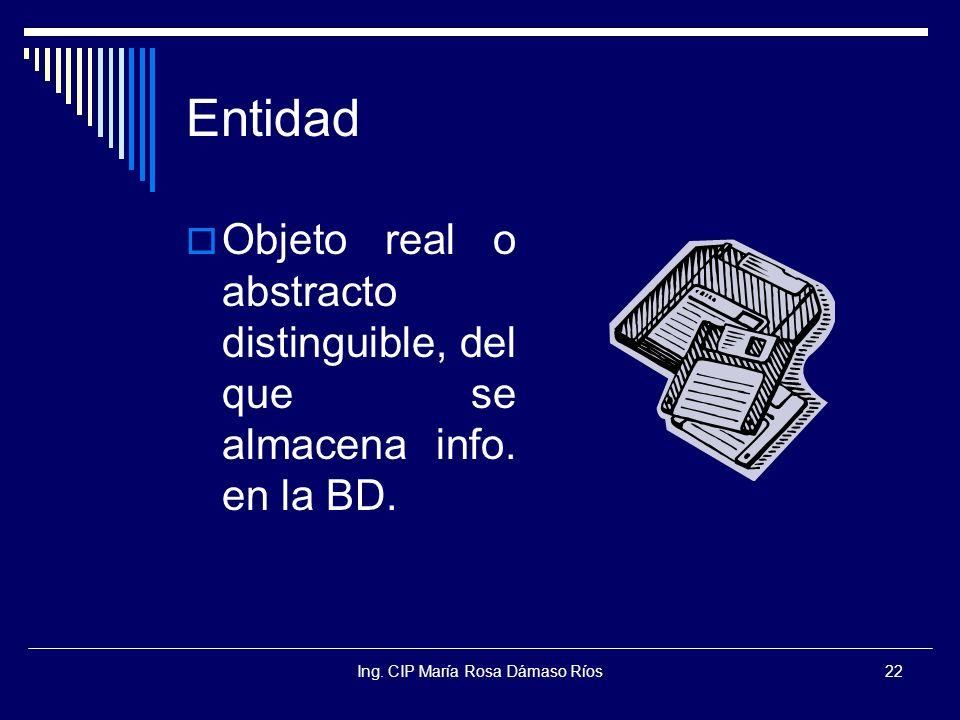 Ing. CIP María Rosa Dámaso Ríos22 Entidad Objeto real o abstracto distinguible, del que se almacena info. en la BD.