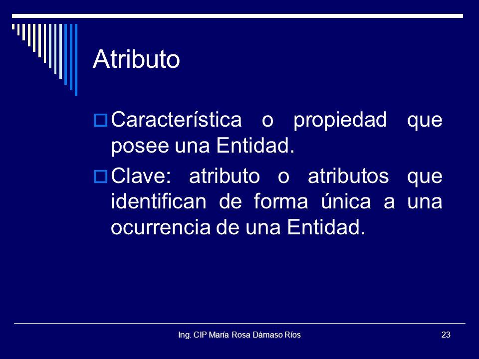 Ing. CIP María Rosa Dámaso Ríos23 Atributo Característica o propiedad que posee una Entidad. Clave: atributo o atributos que identifican de forma únic