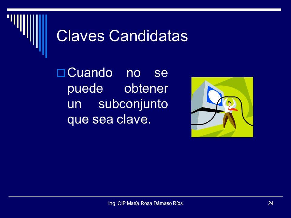 Ing. CIP María Rosa Dámaso Ríos24 Claves Candidatas Cuando no se puede obtener un subconjunto que sea clave.