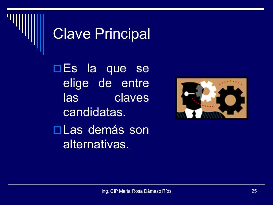 Ing. CIP María Rosa Dámaso Ríos25 Clave Principal Es la que se elige de entre las claves candidatas. Las demás son alternativas.