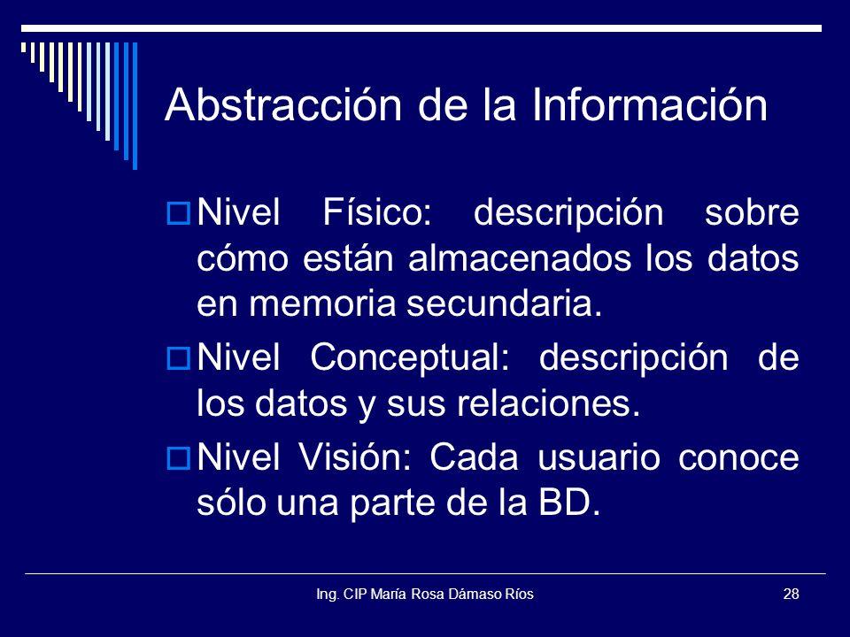 Ing. CIP María Rosa Dámaso Ríos28 Abstracción de la Información Nivel Físico: descripción sobre cómo están almacenados los datos en memoria secundaria