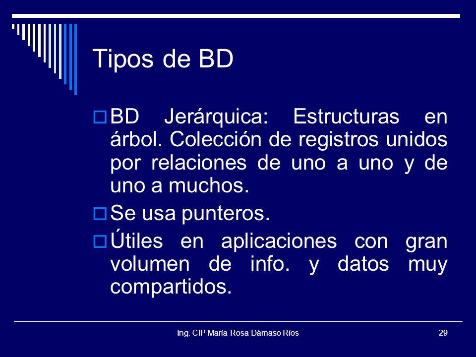 Ing. CIP María Rosa Dámaso Ríos29 Tipos de BD BD Jerárquica: Estructuras en árbol. Colección de registros unidos por relaciones de uno a uno y de uno