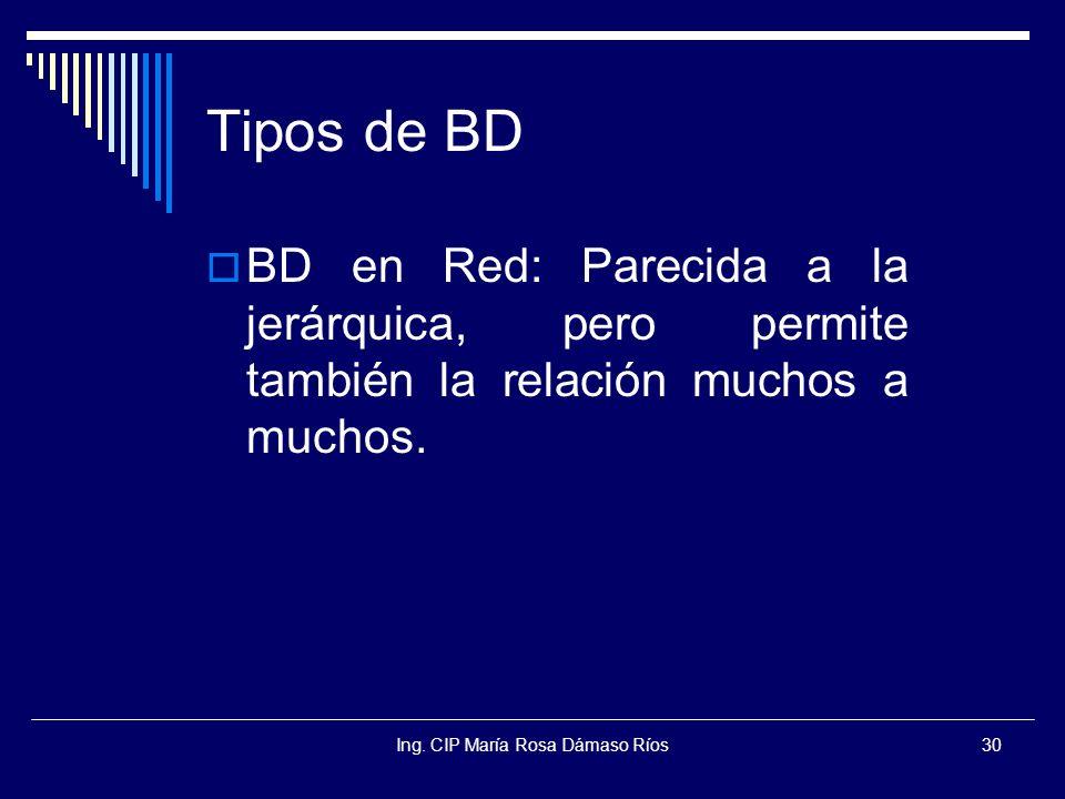 Ing. CIP María Rosa Dámaso Ríos30 Tipos de BD BD en Red: Parecida a la jerárquica, pero permite también la relación muchos a muchos.