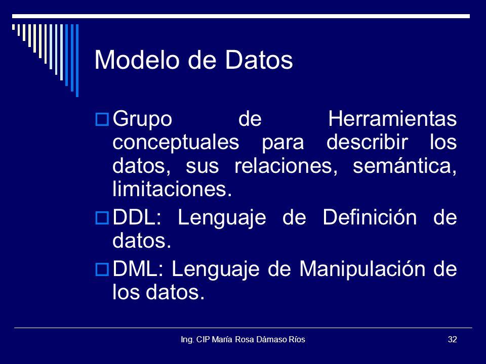 Ing. CIP María Rosa Dámaso Ríos32 Modelo de Datos Grupo de Herramientas conceptuales para describir los datos, sus relaciones, semántica, limitaciones