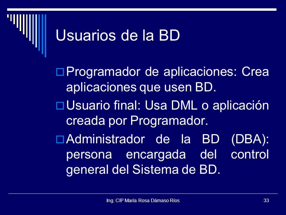 Ing. CIP María Rosa Dámaso Ríos33 Usuarios de la BD Programador de aplicaciones: Crea aplicaciones que usen BD. Usuario final: Usa DML o aplicación cr