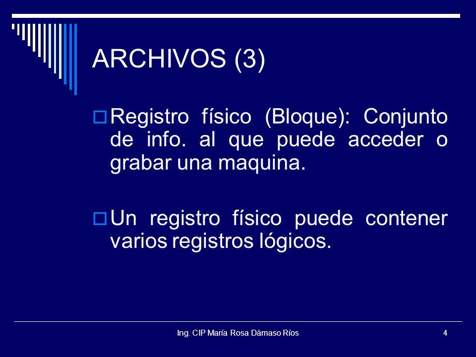 Ing. CIP María Rosa Dámaso Ríos4 ARCHIVOS (3) Registro físico (Bloque): Conjunto de info. al que puede acceder o grabar una maquina. Un registro físic