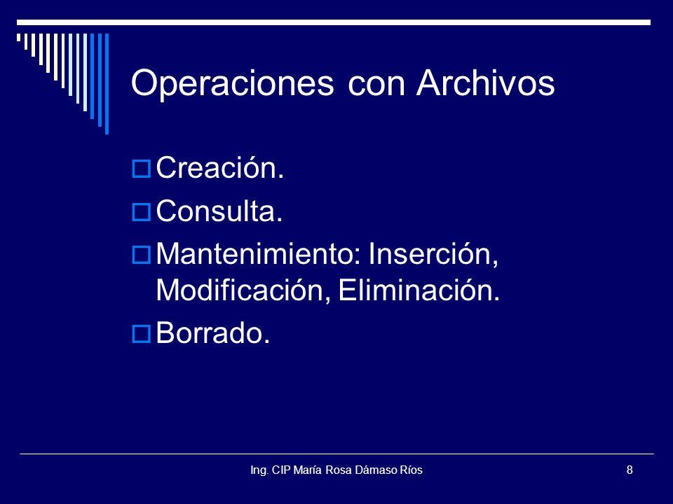 Ing. CIP María Rosa Dámaso Ríos8 Operaciones con Archivos Creación. Consulta. Mantenimiento: Inserción, Modificación, Eliminación. Borrado.