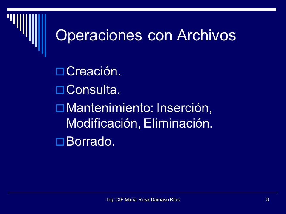 Ing.CIP María Rosa Dámaso Ríos29 Tipos de BD BD Jerárquica: Estructuras en árbol.