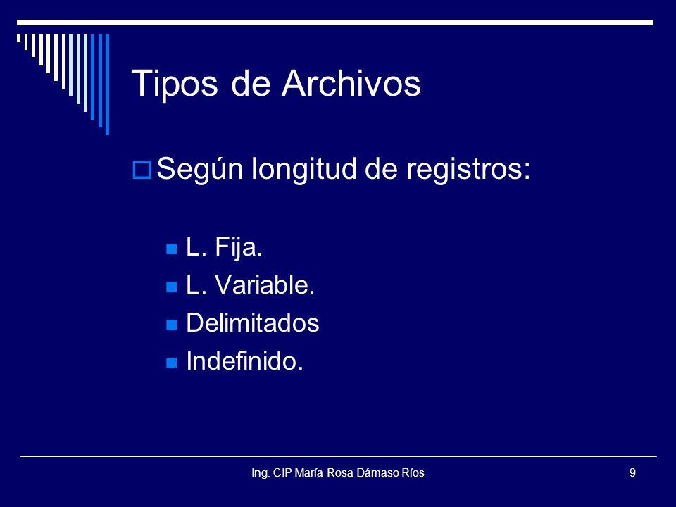 Ing. CIP María Rosa Dámaso Ríos9 Tipos de Archivos Según longitud de registros: L. Fija. L. Variable. Delimitados Indefinido.