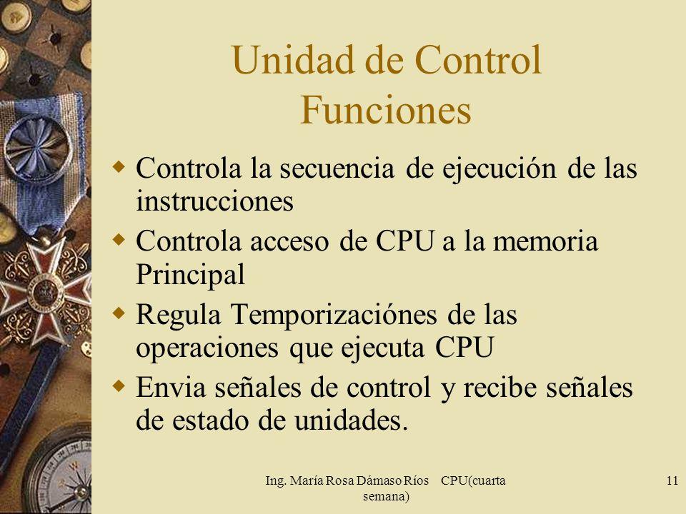 Ing. María Rosa Dámaso Ríos CPU(cuarta semana) 11 Unidad de Control Funciones Controla la secuencia de ejecución de las instrucciones Controla acceso