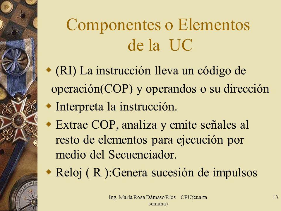Ing. María Rosa Dámaso Ríos CPU(cuarta semana) 13 Componentes o Elementos de la UC (RI) La instrucción lleva un código de operación(COP) y operandos o