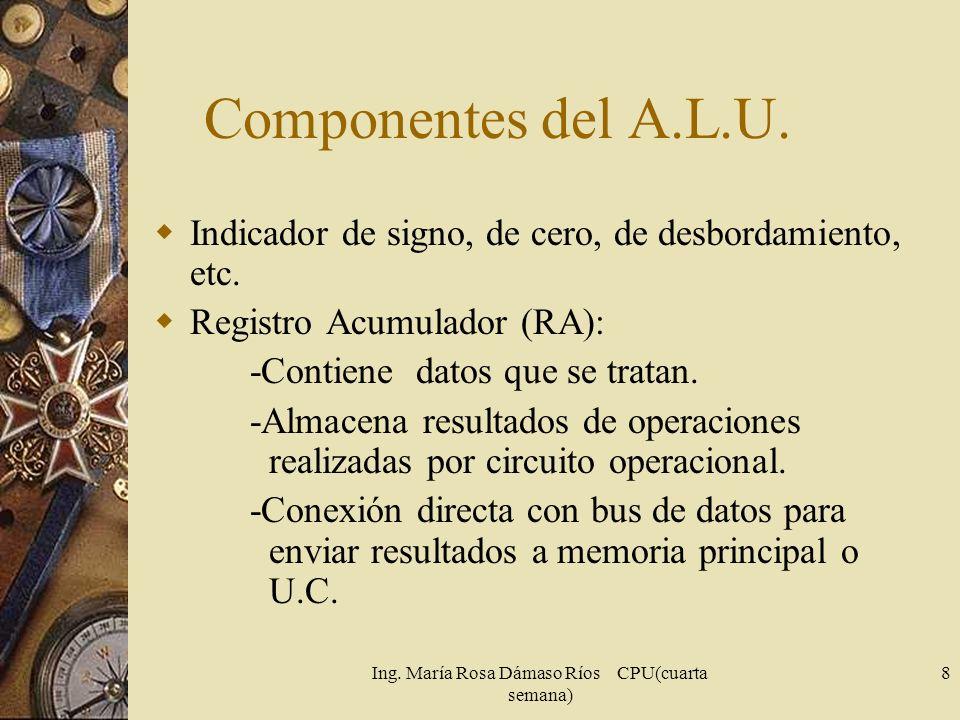 Ing. María Rosa Dámaso Ríos CPU(cuarta semana) 8 Componentes del A.L.U. Indicador de signo, de cero, de desbordamiento, etc. Registro Acumulador (RA):