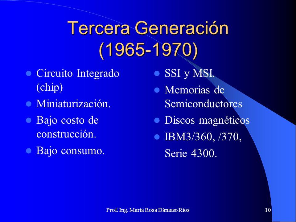 Prof. Ing. María Rosa Dámaso Ríos9 Segunda Generación (1954-1964) Transistor Reducción de tamaño de los circuitos. Memoria: núcleo de ferrita. Cinta y