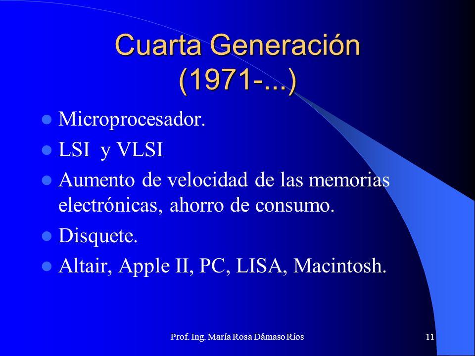 Prof. Ing. María Rosa Dámaso Ríos10 Tercera Generación (1965-1970) Circuito Integrado (chip) Miniaturización. Bajo costo de construcción. Bajo consumo