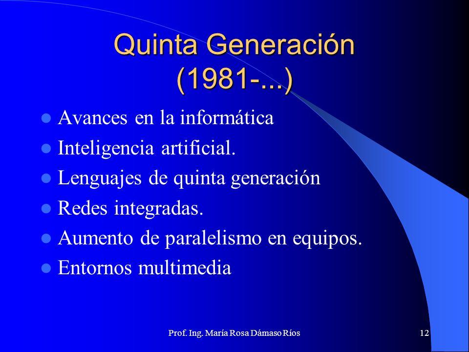 Prof. Ing. María Rosa Dámaso Ríos11 Cuarta Generación (1971-...) Microprocesador. LSI y VLSI Aumento de velocidad de las memorias electrónicas, ahorro