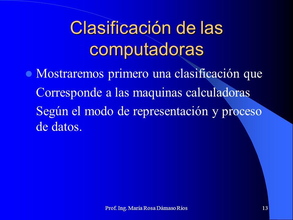 Prof. Ing. María Rosa Dámaso Ríos12 Quinta Generación (1981-...) Avances en la informática Inteligencia artificial. Lenguajes de quinta generación Red
