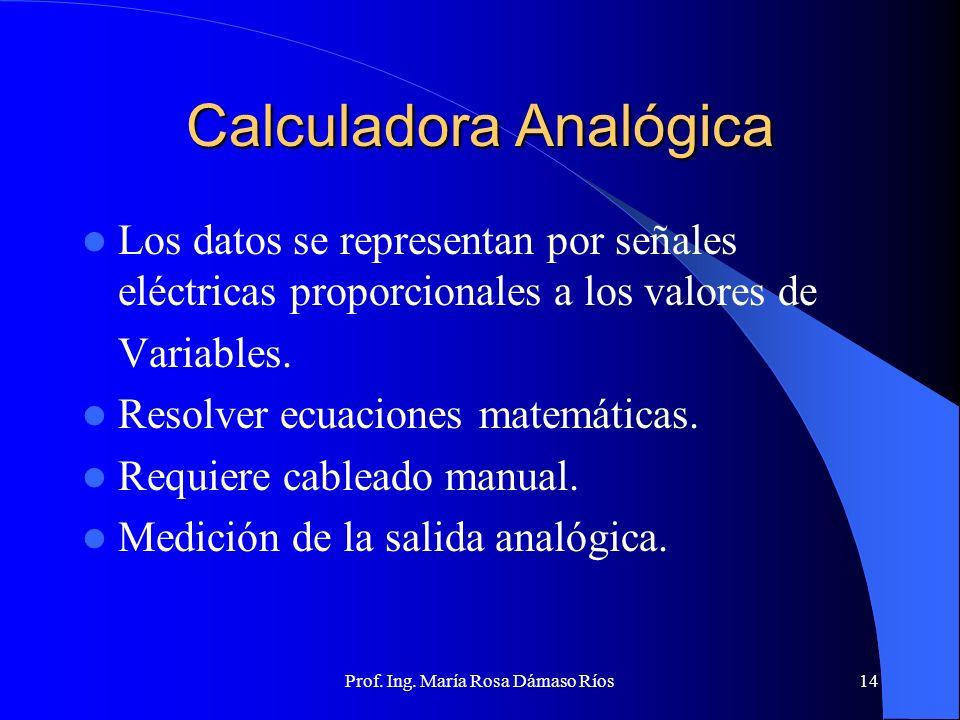 Prof. Ing. María Rosa Dámaso Ríos13 Clasificación de las computadoras Mostraremos primero una clasificación que Corresponde a las maquinas calculadora