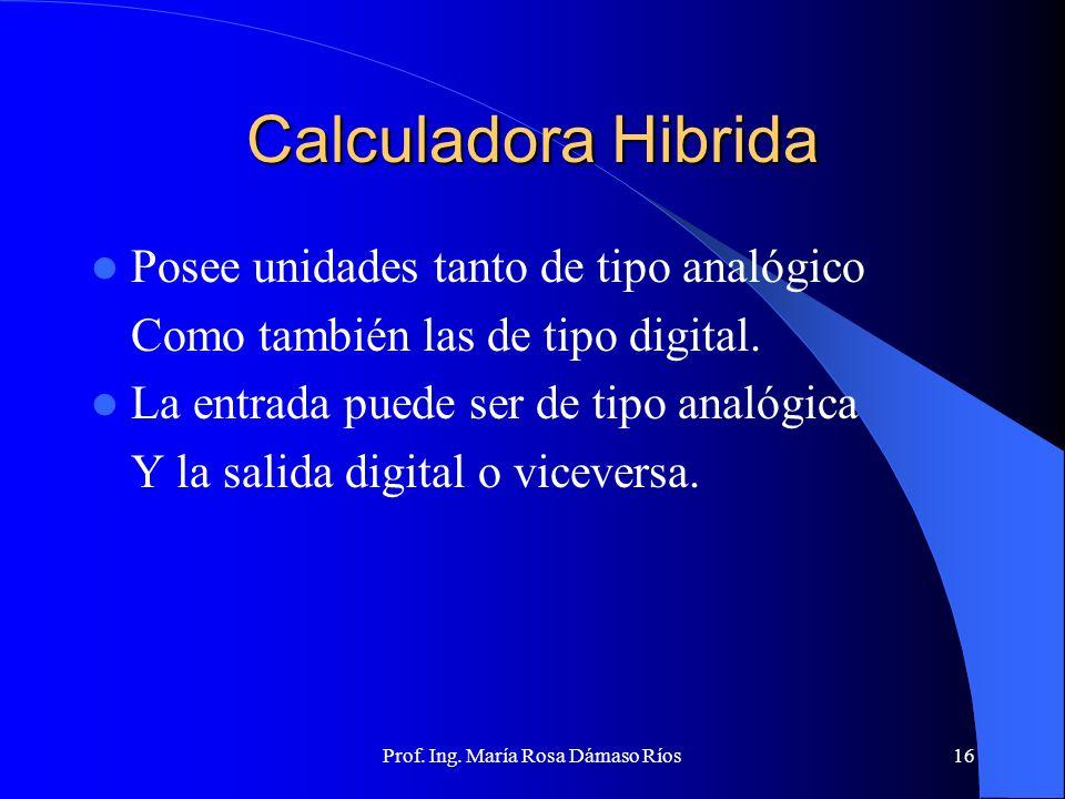 Prof. Ing. María Rosa Dámaso Ríos15 Calculadora digital Datos representados por señales eléctricas discretas con dos posibles valores. Son precisas Am