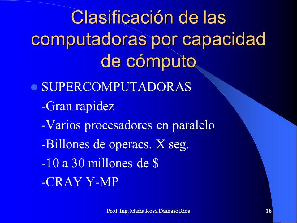 Prof. Ing. María Rosa Dámaso Ríos17 Clasificación de las computadoras por su uso Uso general: múltiples aplicaciones (administrativo, científico, etc)
