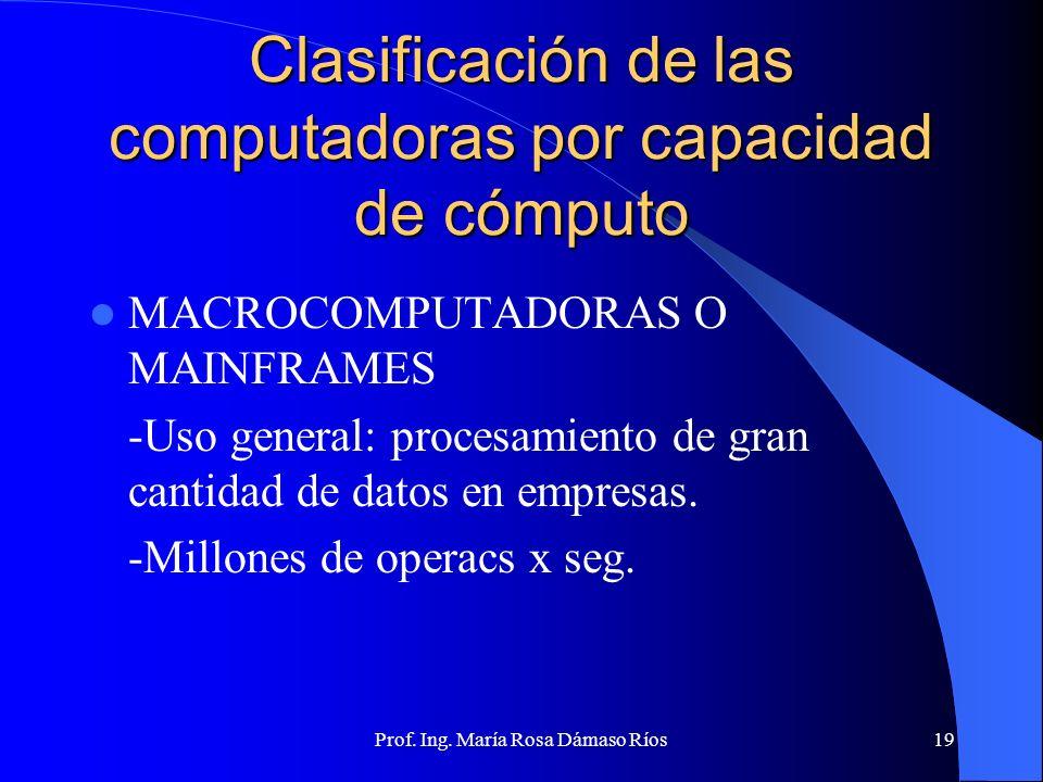 Prof. Ing. María Rosa Dámaso Ríos18 Clasificación de las computadoras por capacidad de cómputo SUPERCOMPUTADORAS -Gran rapidez -Varios procesadores en