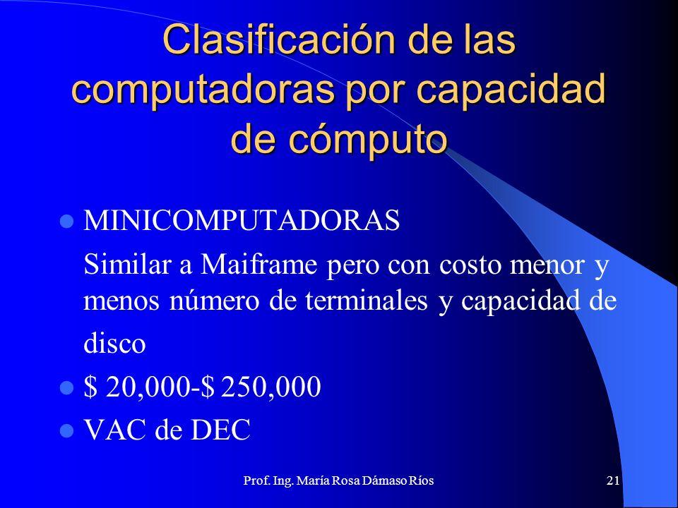 Prof. Ing. María Rosa Dámaso Ríos20 Clasificación de las computadoras por capacidad de cómputo MACROCOMPUTADORAS O MAINFRAMES Uso concurrente por gran