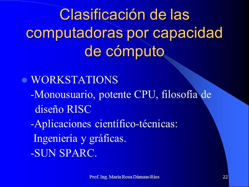 Prof. Ing. María Rosa Dámaso Ríos21 Clasificación de las computadoras por capacidad de cómputo MINICOMPUTADORAS Similar a Maiframe pero con costo meno