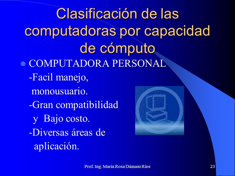 Prof. Ing. María Rosa Dámaso Ríos22 Clasificación de las computadoras por capacidad de cómputo WORKSTATIONS -Monousuario, potente CPU, filosofía de di