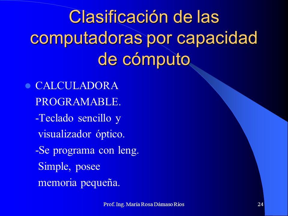 Prof. Ing. María Rosa Dámaso Ríos23 Clasificación de las computadoras por capacidad de cómputo COMPUTADORA PERSONAL -Facil manejo, monousuario. -Gran