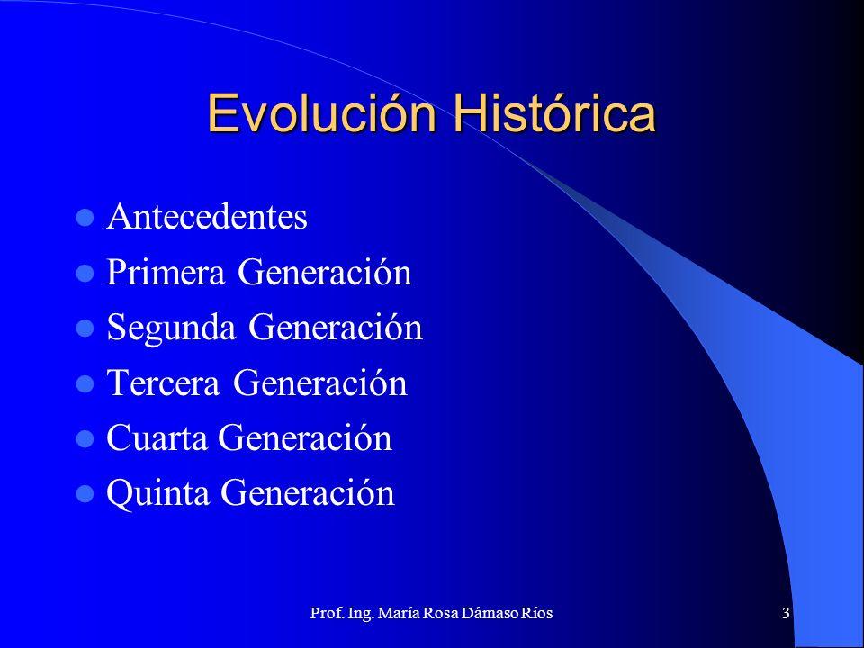 Prof. Ing. María Rosa Dámaso Ríos2 INTRODUCCION En esta sesión hablaremos sobre las generaciones de las computadoras, haremos una clasificación de acu