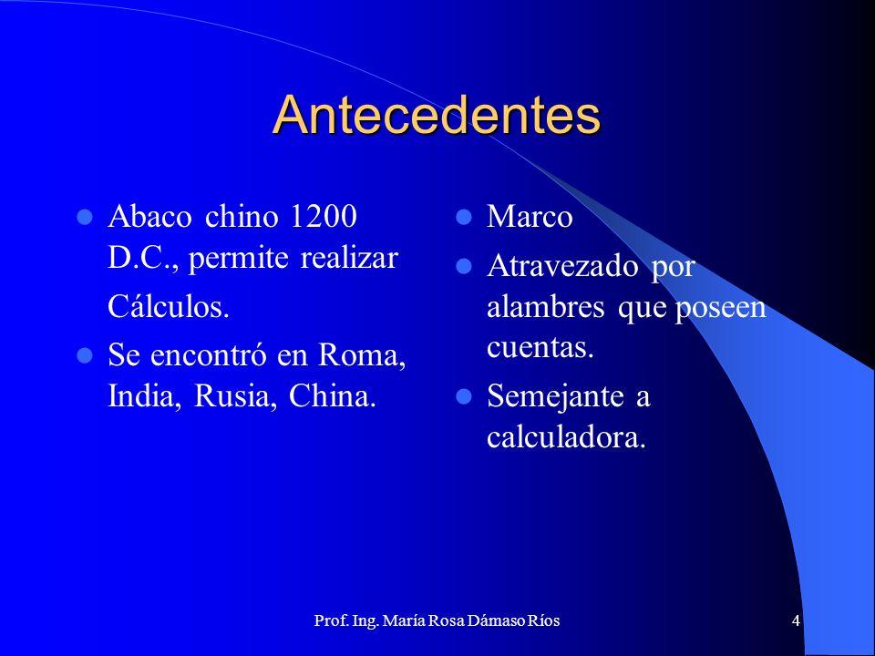 Prof. Ing. María Rosa Dámaso Ríos3 Evolución Histórica Antecedentes Primera Generación Segunda Generación Tercera Generación Cuarta Generación Quinta
