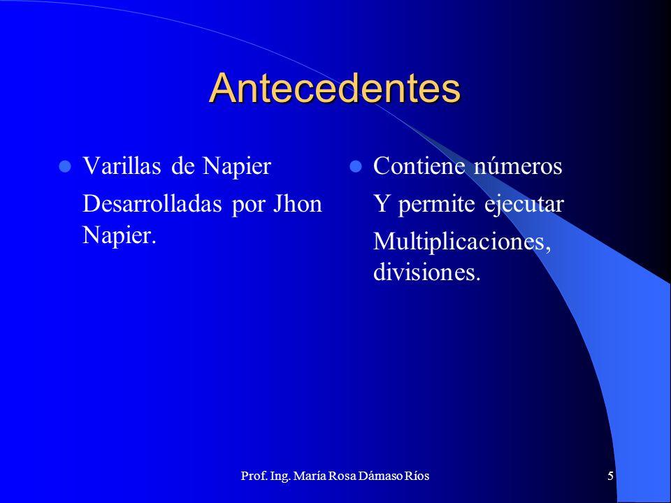Prof. Ing. María Rosa Dámaso Ríos4 Antecedentes Abaco chino 1200 D.C., permite realizar Cálculos. Se encontró en Roma, India, Rusia, China. Marco Atra