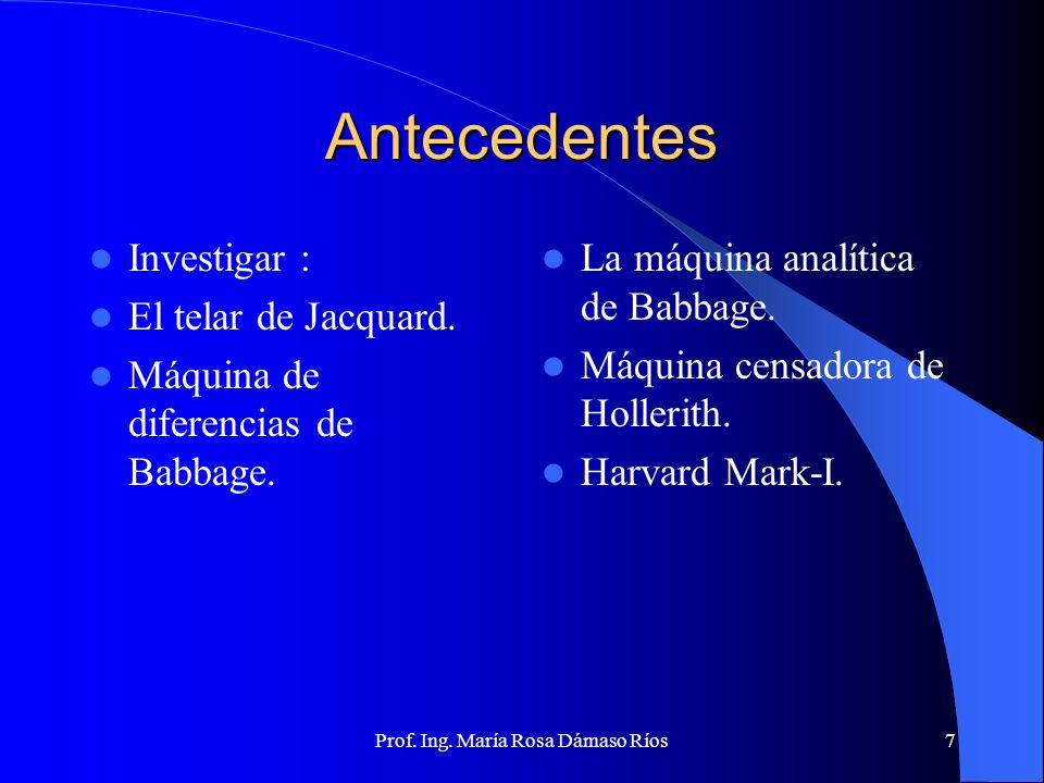 Prof. Ing. María Rosa Dámaso Ríos6 Antecedentes Willian Oughtred En 1621 construye El prototipo de la regla de cálculo En 1642 se desarrolla la Pascal