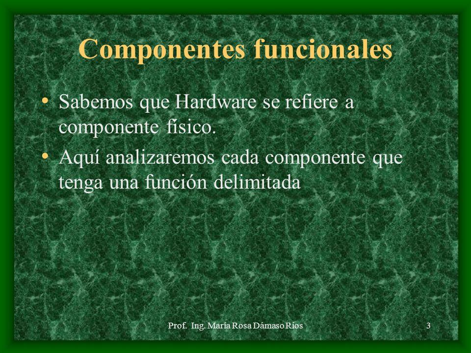 Prof. Ing. María Rosa Dámaso Ríos2 Introducción En la presente sesión revisaremos los componentes principales de un computador y las funciones que cum
