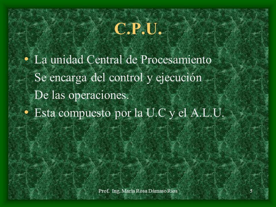 Prof. Ing. María Rosa Dámaso Ríos4 Estructura Funcional Memorias secundaria(CD, Disco,cintas,Etc.) Unidades de Entrada Unidades De salida CPU Memoria