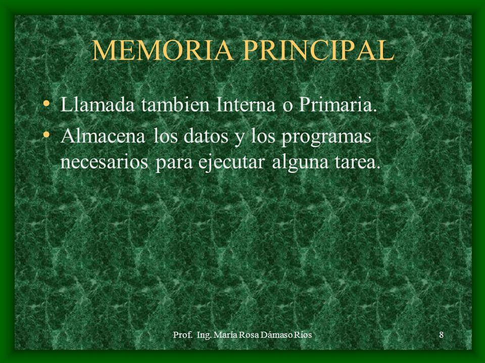 Prof. Ing. María Rosa Dámaso Ríos7 UNIDAD ARITMETICO- LOGICA Llamada ALU, realiza operaciones elementales de tipo aritmético (suma, resta, Multiplicac